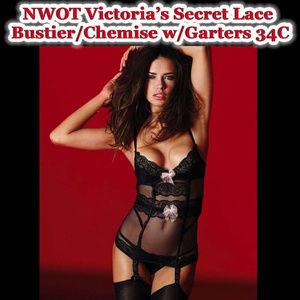 Victoria's Secret 34C Black Lace Chemise w/Bows